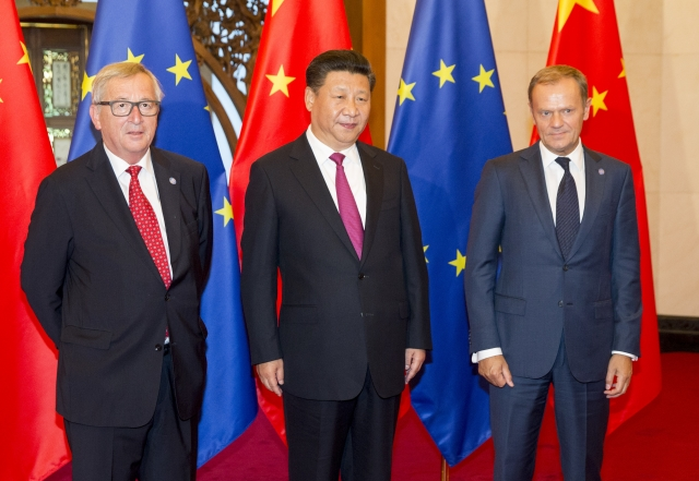 Jean-Claude Juncker, President of the European Commission; Xi Jinping, President of China;  Donald Tusk, President of the European Council. Credit: The European Union.