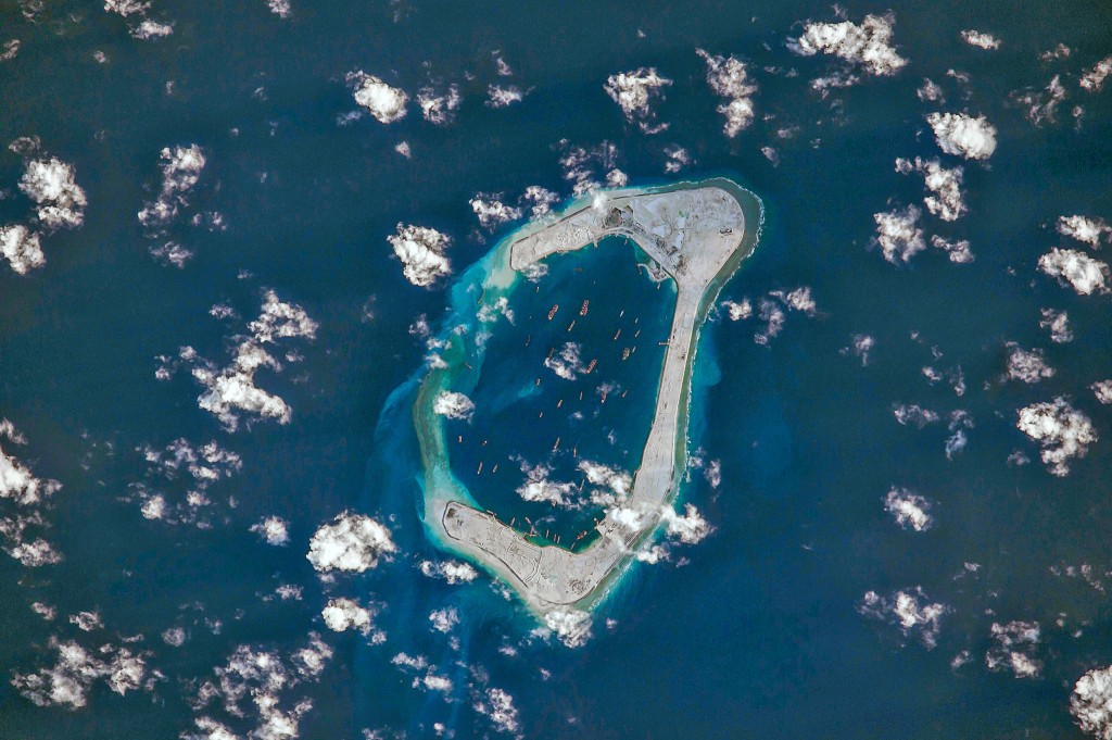 Subi Reef (渚碧礁,) as seen from a U.S. NASA satellite on 31 August 2015. Credit: Flickr / rikyunreal.