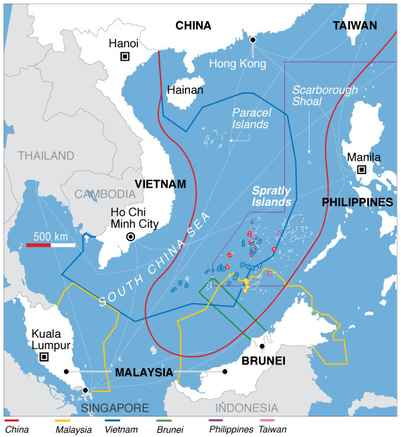 A map of South China Sea claims. Credit: Voice of America / Wikimedia.