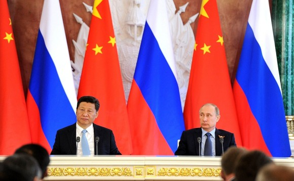 Chinese President Xi Jinping and Russian President Vladimir Putin give press statements following bilateral talks in Moscow in 2015. Credit: Kremli.ru.