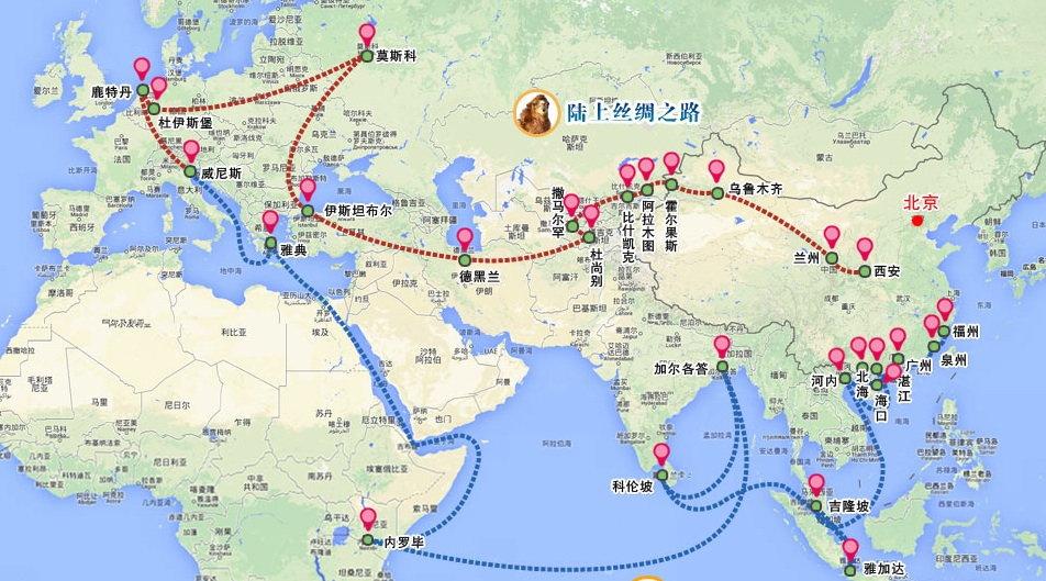 China's vision for the Silk Road Economic Belt, unveiled in 2014. Credit: Xinhua.