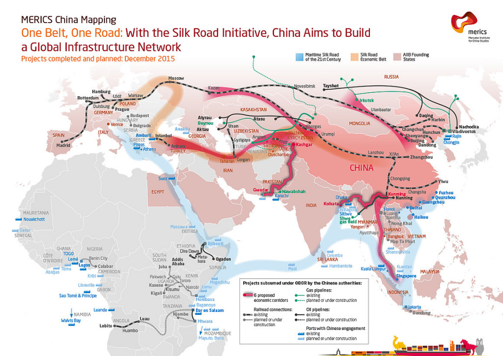 """""""One Belt, One Road: The Silk Road"""" infographic by MERICS."""