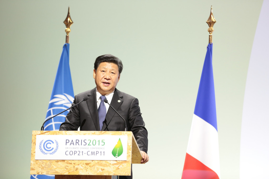 President Xi Jinping speaks at the COP21 UN Climate Change Conference in Paris in 2015. Credit: Flickr / UNclimatechange.