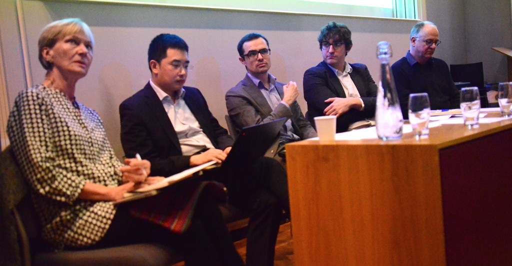 First panel from L to R: Isabel Hilton, Xibai Xu, moderator Raffaello Pantucci, Jérôme Doyon, and Kerry Brown